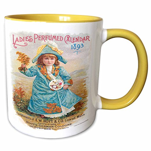 (3dRose BLN Vintage Perfume and Toiletry Labels and Posters - Ladies Perfumed Calendar 1893 Hoyt Co Little Girl in Blue Calendar Cover - 15oz Two-Tone Yellow Mug (mug_153612_13))