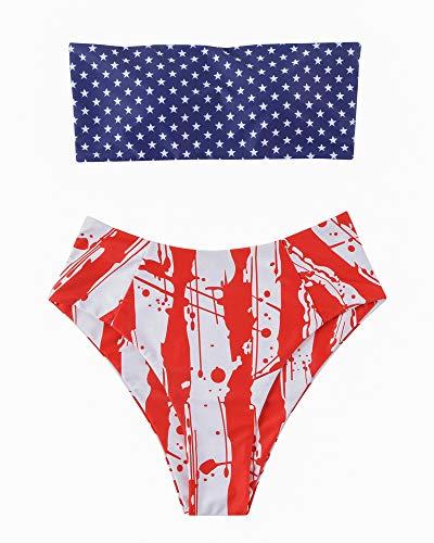 OMKAGI Women's 2 Pieces Bandeau Bikini Swimsuits Off Shoulder High Waist Bathing Suit High Cut(M,Blue Red) ()