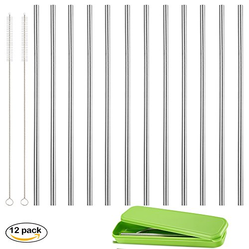 set of 12, Accmor 18/8 Stainless Steel Straws, Reusable Metal Drinking Straws, Straight Straws + 2 Cleaning Brushes & Storage Box for 20 OZ Yeti RTIC Tumbler Rambler Cups(OD:0.24in)