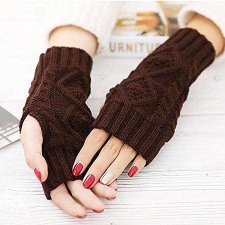 Coffee,One Size QINGDs Women Arm Winter Warmer Fingerless Knitted Long Gloves Cute Mittens