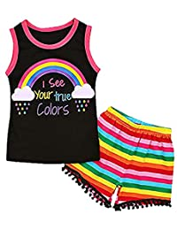 SUPEYA Baby Girls Letter Print Vest Top+Stripe Print Tassel Shorts Rainbow Outfits