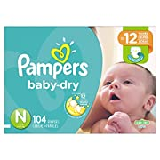 Pampers Baby-Dry Disposable Diapers Newborn Size 0, 104 Count, SUPER