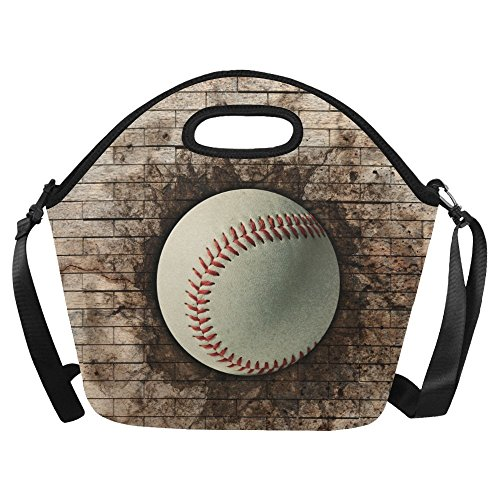 InterestPrint Baseball Brick Wall Reusable Insulated Neoprene Lunch Tote Bag Cooler 15.04