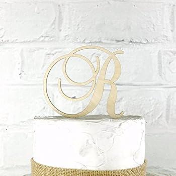 4 Inch Rustic Wedding Cake Topper Monogram Personalized in Any Letter A B C D E F G H I J K L M N O P Q R S T U V W X Y Z