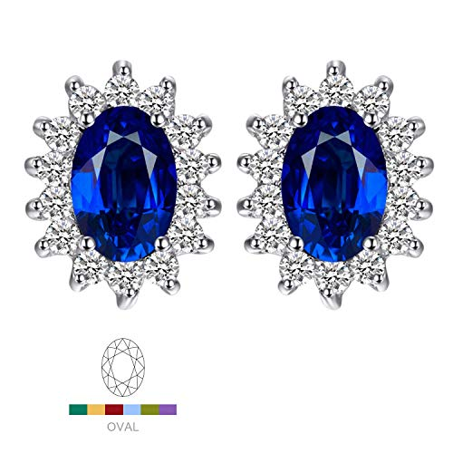 Jewelrypalace Gemstones Birthstone 1.5ct Created Blue Sapphire Stud Earrings For Women 925 Sterling Silver Earrings For Girls Princess Diana William Kate Halo Earrings ()