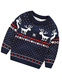 Emoyi Children Boys Christmas Sweaters Reindeer Knitted Pullover Jumper Clothes