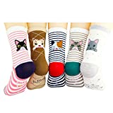 Womens Casual Socks 5 Pairs Dots Casual Socks Comfortable Cotton Socks Cozy Crew Socks (Striae)
