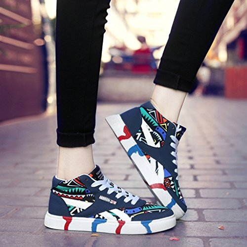 Auspicious beginning Unisex Fashion High Top Casual Shoes Scrawl Trainers Blue KHPwncYEp