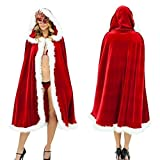 Monique Women Red Christmas Cape Mrs Santa Cosplay Hooded Cape Christmas Costume Cloak