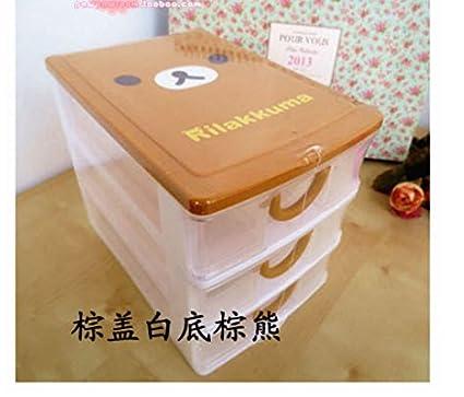 Gogil - Cajón de 3 cajones de plástico Transparente para Escritorio, Caja de Almacenamiento,