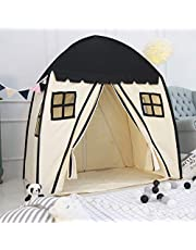 Large Children Playhouse - Indoor Nursery Canvas Play Tent Bed House, Sturdy Frame & Mess Windows, Easy to Put Up and Take Down