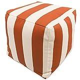 Majestic Home Goods Burnt Orange Vertical Stripe Indoor/Outdoor Bean Bag Ottoman Pouf Cube 17'' L x 17'' W x 17'' H