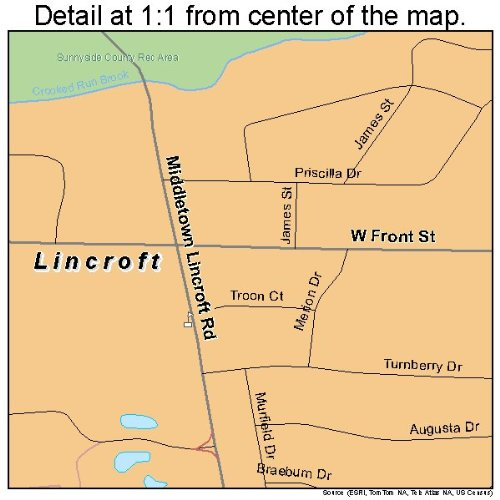 Amazon.com: Large Street & Road Map of Lincroft, New Jersey ... on zip code map, new jersey shore map, lincroft new jersey map, fort dix range map,