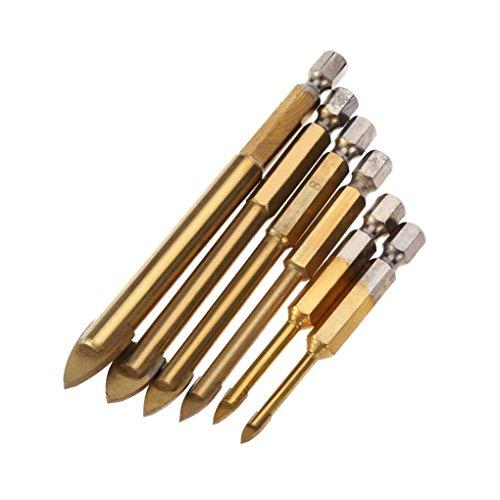 6pcs 4/5/6/8/10/12mm Titanium Coated Glass Drill Bits Set with 1/4