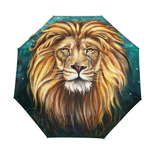 Automatic Umbrella Leo Lion Starry Sky Windproof Compact Folding travel Umbrellas