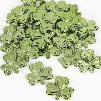1.5 ~ New ~ St Patricks Day Table Sprinkles FX ~ Plastic Metallic Shamrocks ~ Approx 48 4 Dozen