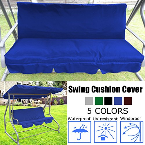 Essort Swing Cushion Cover Replacement, 150 X 50 X 50 x 10CM Suitable for B&Q Colorado Garden Swing Loveseat Protective Waterproof Cover for Swing Cushion Blue 150 X 50 X 50 x 10CM by Essort