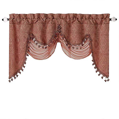 (GoodGram Ultra Elegant Clipped Jacquard Georgette Fringed Window Valance with an Attached Sheer Swag Assorted Colors (Spice))