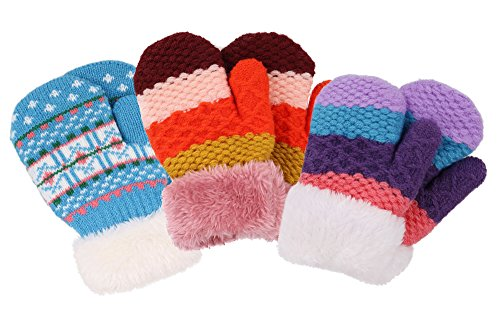 3 Pack Girls Sherpa Lined Winter Knit Mittens Gloves, Color 7 for 2-5 Years