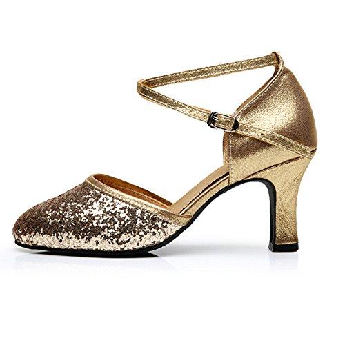 Bal Talons Salle Chaussures Femmes Semelle Dores Cuir Bas Latin Ferm Bretelles 5 5 Bout Chaton En Paillettes Pour Talon De Croises xW7gzpPwR