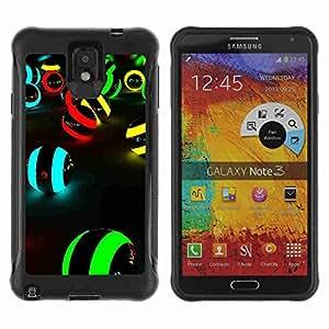 A-type Arte & diseño Anti-Slip Shockproof TPU Fundas Cover Cubre Case para Samsung Galaxy Note 3 III / N9000 / N9005 ( Neon Colors )