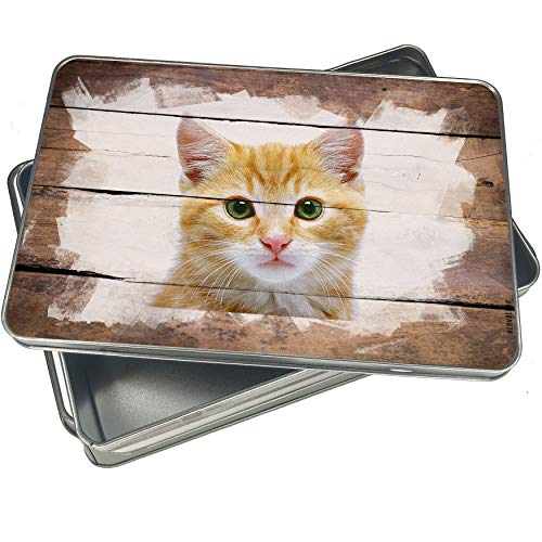 NEONBLOND Cookie Box Kitten Christmas Metal Container