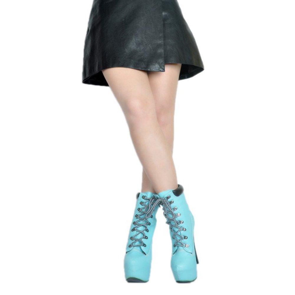 Kolnoo Damen BFCM High Heel Winter Party Blau Lace Up Mode Stiefeletten Schuhe Blau Party efd28c
