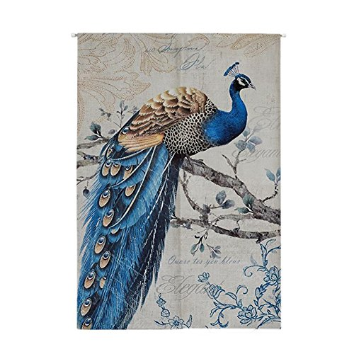 ONCEFIRST Linen Tapestry Noren Japanese Curtain for Door Doorway Curtain Peacock 3 33.5''X47.2''