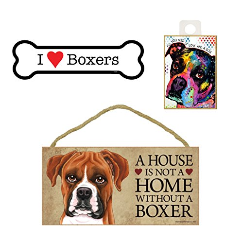 Boxer Dog Lover Gift Bundle Decor - Decorative Wall Sign A House is Not a Home Without a Boxer, Car Magnet I Love Boxers, and Refrigerator Magnet All You Need is Love and a Dog