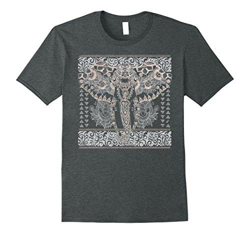 Mens Intricate Paisley Henna Pattern Elephant Graphic T-Shirt Small Dark Heather