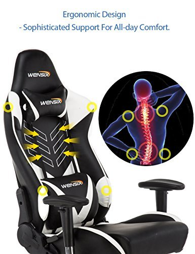 WENSIX Ergonomic High Back Computer Gaming Chair for PC Racing Chairs with Adjustable Headrest and Backrest (White/Black) by WENSIX (Image #1)