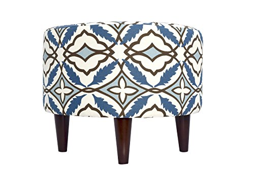 MJL Furniture Designs Sophia Collection Fabric Upholstered Round Footrest Ottoman with Round Espresso Finished Legs, Eden Series, Cadet Blue