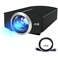 Iphone Projector,Artlii LCD Theatre Projector 1600 Lumens Support 1080P Cinema Theater Projector Portable Pico Projector for Video Games, Movies, USB HDMI ,for iPad, Laptops Home Movie Video Projector