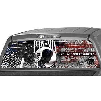 Amazoncom POW MIA FLAG Rear Window Graphic Decal Tint Sticker - Rear window stickers for trucks