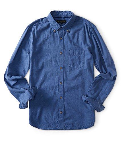 Aeropostale Men's Long Sleeve Solid Slub Woven Shirt M Marlin Blue