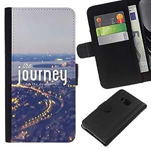 Planetar® Modelo colorido cuero carpeta tirón caso cubierta piel Holster Funda protección Para HTC One M9 ( Viaje Ciudad texto inspirador Ciudad Vignette )