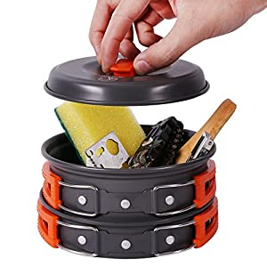 REDCAMP 9/12/18/23 PCS Camping Cookware Mess Kit with Kettle, Aluminum Lightweight Folding Camping Pots and Pans Set for 1/2/3/4 Person