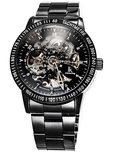 Alienwork IK mechanische Automatik Armbanduhr Skelett Automatikuhr Uhr schwarz Edelstahl 98226G-A