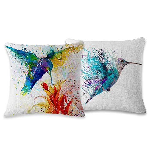 (Myathle Cotton Linen Throw Pillow Cover Decorative 18 X 18 Inch Pack of 2 Watercolor Printing Couch Pillow Cases Cushion Cover Bird)