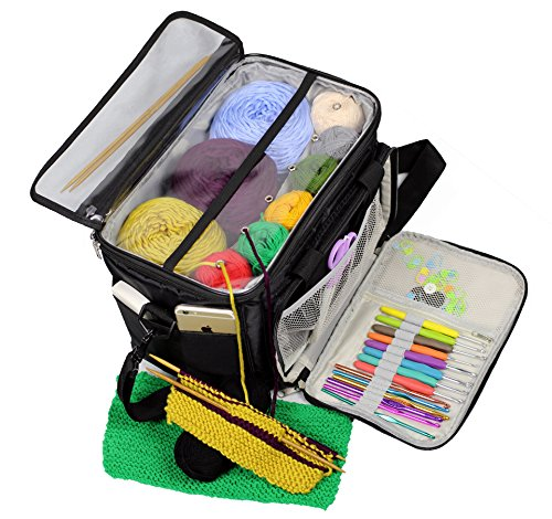 Yarn Storage Organizer Bag Knitting Crocheting Accessories Tote Bag Crochet Yarn Bag Large (Black) by Amatory
