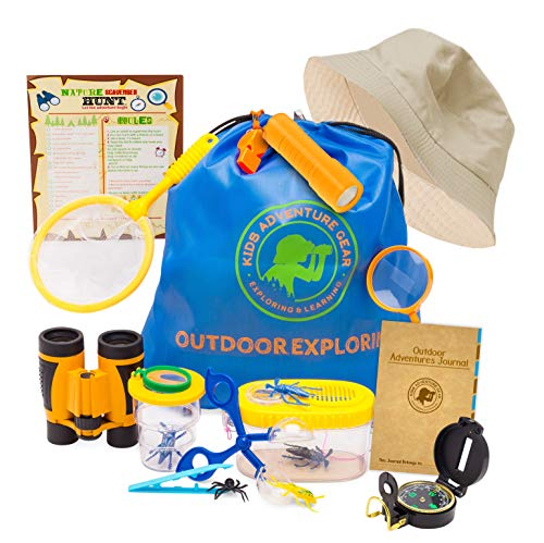 Outdoor Adventure Kit for Kids-20 pc Bug Catching & Explorer Kit-Binoculars-Compass-Magnifying Glass- Bug Catcher Set+Containers-Butterfly Net & Backpack-STEM Gift Set-Camping, Hiking, Boys & ()