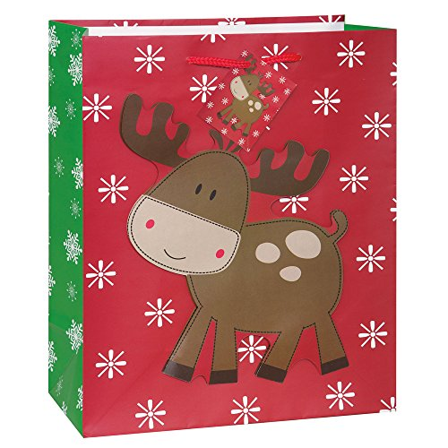 Large Stitched Reindeer Christmas Gift Bag (Gifts For Large Groups)