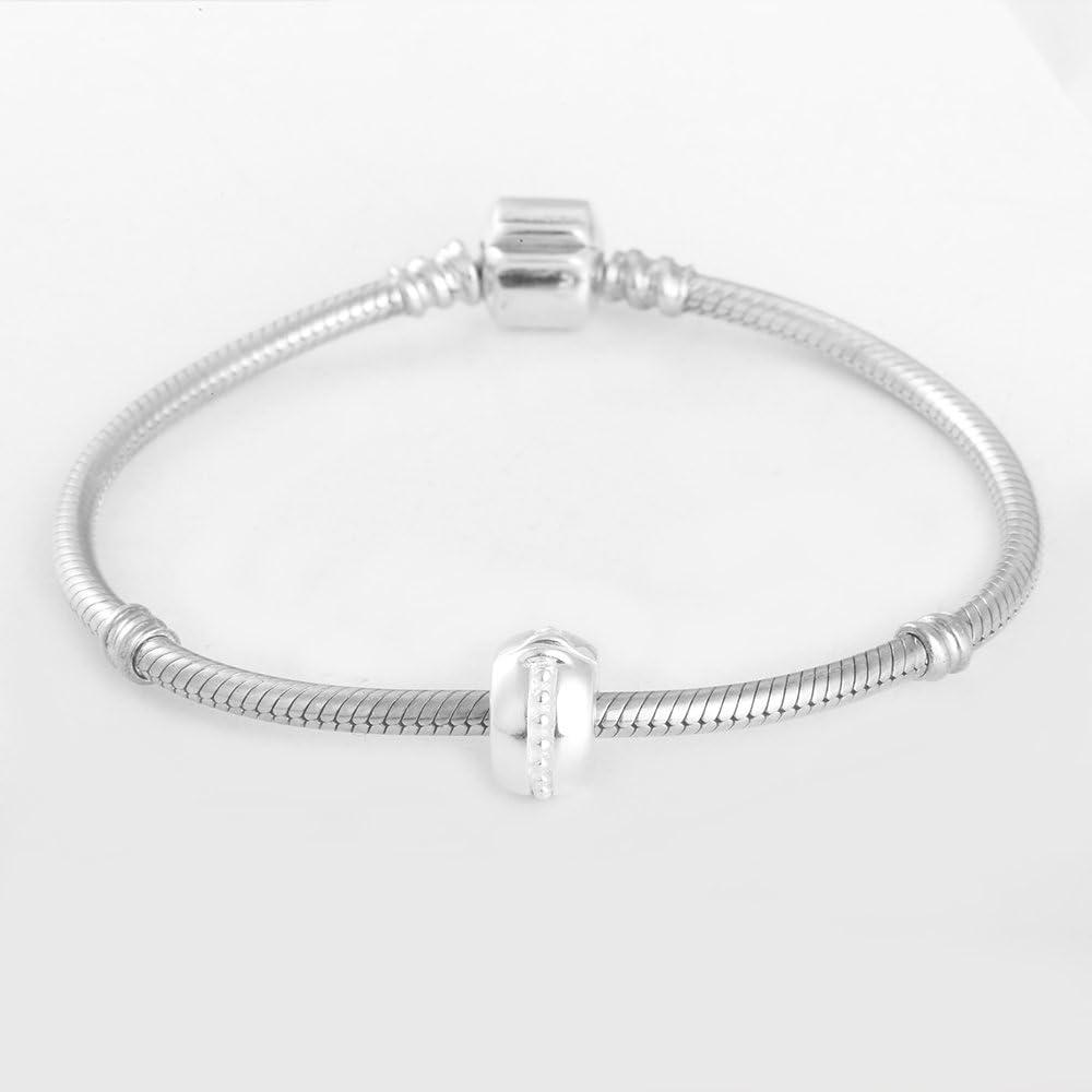 con perline per braccialetti 2Pz Ciondoli con chiusura a clip in argento Sterling 925/lucido