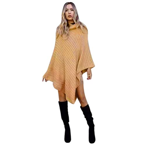 Hiroo Mujeres Irregular Cloak Loose Shawl Cardigan Casual cuello de tortuga cubre la capa del suéter...