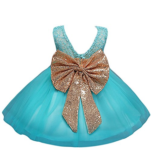 Fairy Dress For Baby (JiaDuo Baby Girl Lace Mesh Tutu Dress Sequin Bow Toddler Princess Gown Blue 100)
