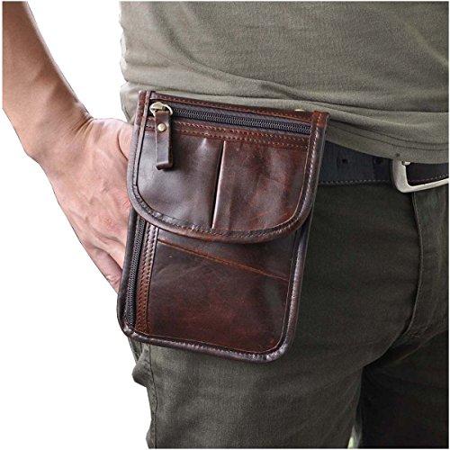 Designer Cigarette Case - Le'aokuu Mens Genuine Leather Mini Messenger Shoulder Bag Pouch Hook Waist Bag Pack (Coffee)
