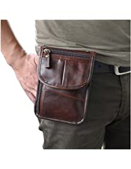 Leaokuu Mens Genuine Leather Mini Messenger Shoulder Bag Fanny Waist Bag Pack