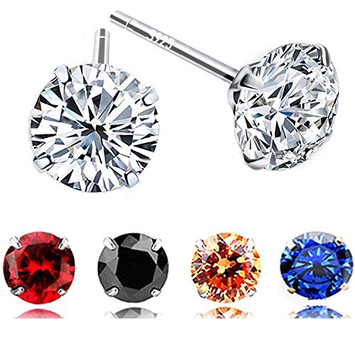 5 Pairs 925 Sterling Silver 6mm AAA CZ Cubic Zirconia Stud Earrings for Women Girls (Set of 5 Colors) Amazing 925 Sterling Silver Earring