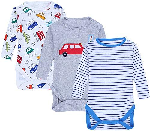 Jingle Bongala Baby Bodysuit Long Sleeve Cotton Onesies 3 Pack (Fancy Organic Cotton Tee)