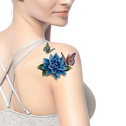 TAFLY Women's Blue Flower 3D Peony Butterfly Lower Back Temporary Tattoos 5 Sheets Butterfly Lower Back Temporary Tattoo